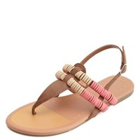 WRAPPED COLOR BLOCK T-STRAP THONG SANDALS