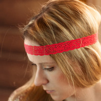 Red Headband, Boho Lace Hair Band, Stretchy Women's Skinny Head Piece, Stretch Thin Forehead Hair Accessories, Bright Fashion Accessory