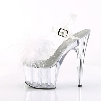 "Adore 708MF Clear Ankle Strap Upper White Marabou Feather 7"" High Heels - Pre-Order"
