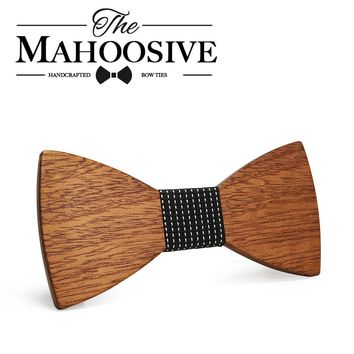 Mahoosive Fashion Men Wooden Bow Tie Set Accessories Handmade Good Wood Bow Ties For Men Wedding Party Neck Tie Gravata