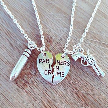 Partners In Crime Pendant Friendship Necklaces