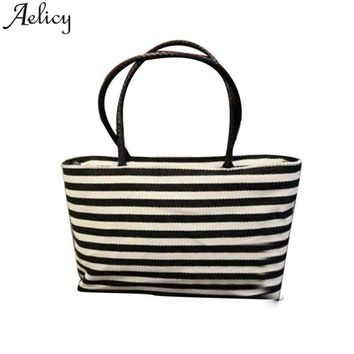 Aelicy Summer Canvas Shopper Bag Striped Prints Beach Bags Tote Women Ladies Girls Shoulder bag Casual Shopping Handbag Bolsa