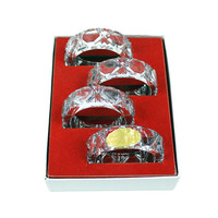 Vintage Lead Crystal Napkin Rings, Western Germany, Boxed Set of 4