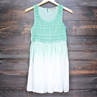 final sale - boho dip dye crochet dress - neon green