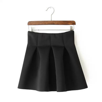 Summer Pleated Black Skirt = 5840107137