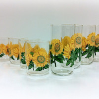 Sunflower Tumblers Libbey Glasses by vintage19something on Etsy