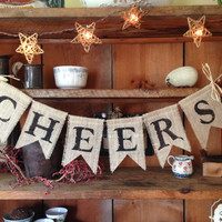 Cheers Burlap Bunting, Wedding Bunting, Wedding Banner, Wedding Photo Prop, Country Wedding, Upper Case Mr. & Mrs. Bunting, Dessert Bunting