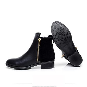 2016 New Women's Fashion Winter Side Zipper Low Heel Ankle Boots Womens Casual Martin