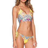 Printed Backless Beach Bathing Suit Beachwear Strap Bikini Set