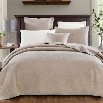 DaDa Bedding Neutral Taupe Beige Sand Dollar Elegant Floral Cotton Quilted Bedspread Set (JHW-585)