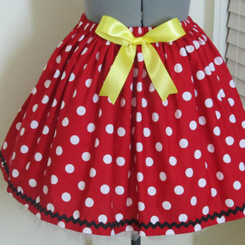 Minnie Mouse Skirt  with a sexy yellow bow - Great for a Halloween Costume or Birthday Party- Ready to ship