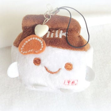 Chocolate milk Kawaii plush phone charm, cute milk plushie keychain, stuffed animal, Anime phone strap, sweet lolita, soft toy, custom plush