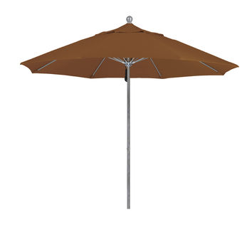 9 Foot 1A Sunbrella Fabric Aluminum Pulley Lift Patio Patio Umbrella with Silver Pole