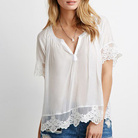 Embroidered Lace-Trimmed Top