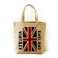 Retro Vintage British Flag Print Cotton Linen Tote Bag, Handmade Bag, British Flag Print, British Flag Bag, London Bag, UK Flag, London Map