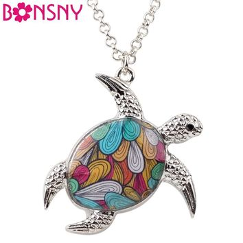 Bonsny Statement Chain Enamel Tortoise Turtle Necklaces Pendant Chain Collar Ocean Collection New Fashion jewelry For Women