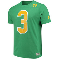 Men's Under Armour Kelly Green Notre Dame Fighting Irish 1977 #3 Tri-Blend Performance T-Shirt