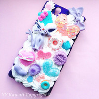 Custom Kawaii Pokemon Vapereon or Jolteon Espeon eevee evolution Decoden Phonecase for Iphone 4/4s 5, Samsung Galaxy S2 S3 S4, HTC