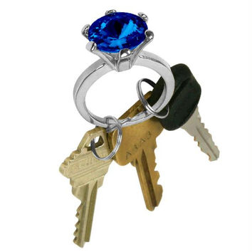 Bling Diamond Ring Key Chain - Sapphire Color Stone