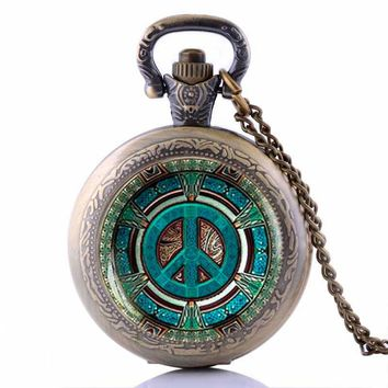 Steampunk Hippie Pendant Pocket Watch Vintage Peace Sign Men's jewelry Gift
