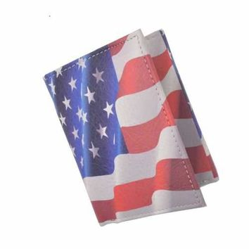 Handcarfted Trifold Men Leather Wallet USA Flag Print