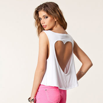 Sexy Ladies Heart-shaped Hollow Out Short Vest 2016 New Backless Short Cotton Sexy Women Tank Tops White Chalecos Mujer S22330