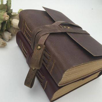 FREE SHIPPING Handmade Vintage Leather Diary Notebook Sketchbook Travel Journal Blank Writing Paper