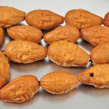 Antique Mala Bead Necklace Chinese Hand Carved Man Peach Pit Mala Prayer Arhat Lohan Buddhist Necklace