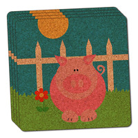 Pig Piggy Thin Cork Coaster Set of 4