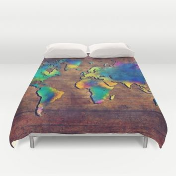 World map watercolor 2 Duvet Cover by Jbjart