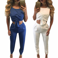 Womens 2016 Summer Elegant Sexy Backless Zipper Sleeveless Crop Top 2 Piece Full Length Work Casual Jumpsuit Romper Overalls
