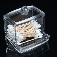 2016 Fashion Clear Acrylic Cotton Swab Organizer Box Cosmetic Holder Q-tip Makeup Storage Case Spools Organizer Hotel Supplies