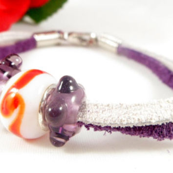 Suede Lace Purple & White  Bracelet ~ Hand Crafted Glass Beaded Wrap Bracelet ~ Boho Chic ~ Gift for Teens
