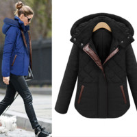 Diamond Quilted  Spliced Coat With Hood