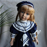 "Blond Sailor Girl Porcelain Doll, 16"" with Stand, Navy Blue & White Outfit, Vintage"