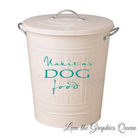 Customized Dog Food - Storage Container Decal with Name - Removable Vinyl Decal