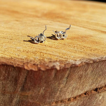 Serotonin Molecule Sterling Silver Stud Earrings