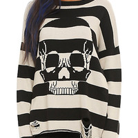 Iron Fist Striped Skull Destructed Sweater