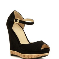 Sale-black Corky Peep-toe Wedge