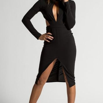 Cutout Detail Black Midi Dress