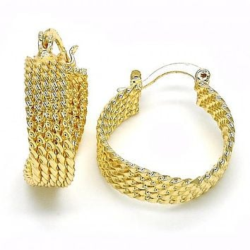 Gold Layered 02.261.0055.20 Small Hoop, Twist Design, Polished Finish, Golden Tone