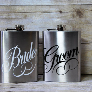 Bride and Groom - Wedding Set - Custom Stainless Steel Flasks - Custom Colors Available - Groom Flask - Bride Flask