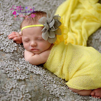 Baby Headband, Large Flower Grey Yellow Fancy Baby Headband, Baby Head Bands, Infant Hair Band, Newborn Girl Props, Toronto Canada