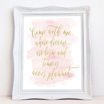 Peter Pan nursery print - peter pan quote print - peter pan wall art - nursery quotes - modern nursery art - watercolor nursery art - pink