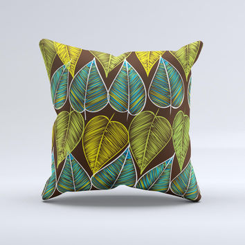 Gold Yellow Seamless Leaves Illustration Ink-Fuzed Decorative Throw Pillow