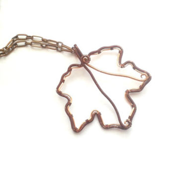 Maple Leaf Necklace, Wire Wrapped Copper And Brown Maple Leaf Pendant, Wire Weaved Nature Inspired Jewelry, Handmade Unique Wire Jewelry