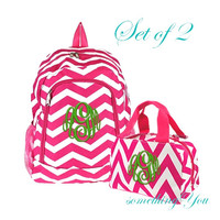 Personalized Hot Pink Chevron Monogrammed Backpack and Lunchbox - Initials Name Insulated stripes zig zag girls childrens bright fuschia