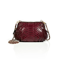 Zagliani - Python Praline Crossbody Bag in Dark Red