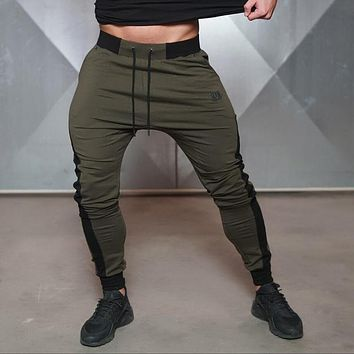 2016 Brand New Gold Medal Fitness Casual Elastic Embroidered Pants Stretch Cotton Men's Pants  Jogger Bodybuilding