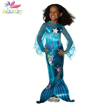 Belababy 3-10Yrs Girl Dress 2018 Mermaid Dresses With Pearl Children Halloween Cosplay Costumes Princess Party Dress For Girl